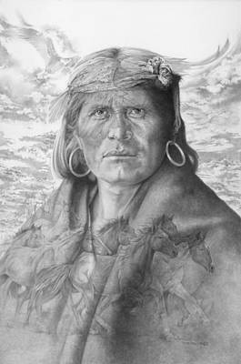 Hopi Drawing - A Walpi Man - The Vanishing Culture by Steven Paul Carlson