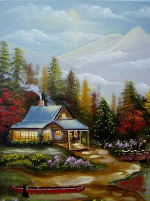 Painting - A Warm And Cozy Cabin by Debra Campbell