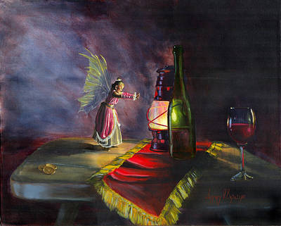 Wine Bottle Painting - A Warm Friend by Jeff Brimley