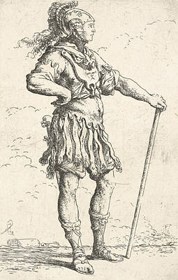 Relief - A Warrior Facing Right Wearing A Plumed Helmet And Holding A Staff by Salvator Rosa