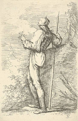 Relief - A Warrior Shown From Behind Holding A Staff And Leaning On A Rock by Salvator Rosa