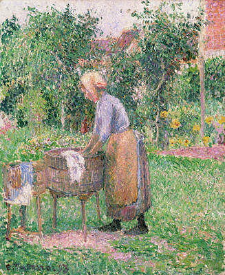 Woman Painting - A Washerwoman At Eragny by Camille Pissarro