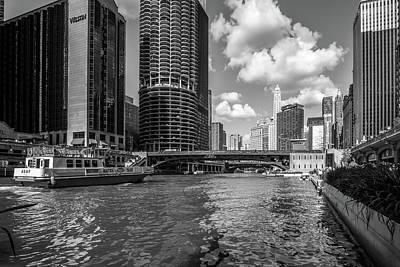 A Water Taxi On The Chicago River In Black And White Art Print by Med Studio