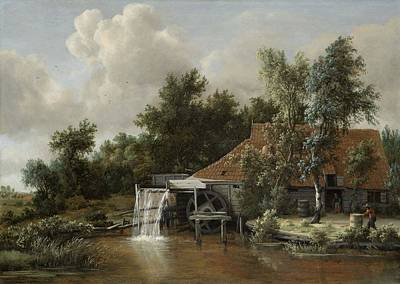 Meindert Hobbema Painting - A Watermill, Meindert Hobbema, C. 1664 by Celestial Images