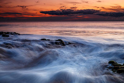 A Wave At Sunset Art Print