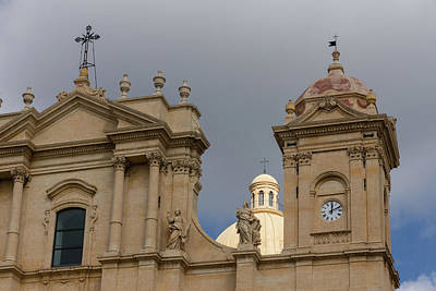 Photograph - A Well Placed Ray Of Sunshine - Noto Cathedral Saint Nicholas Of Myra Against A Cloudy Sky by Georgia Mizuleva
