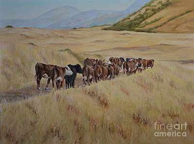 Animal Painting - A Well Worn Path by Mary Rogers
