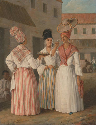 Indy Indians Painting - A West Indian Flower Girl And Two Other Free Women Of Color by Agostino Brunias