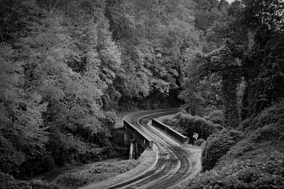 Photograph - A Wet And Twisty Road Through The Blue Ridge Mountains In Black And White by Kelly Hazel