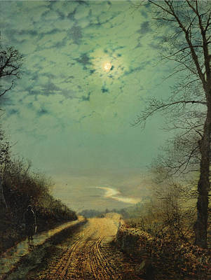 Painting - A Wet Road By Moonlight. Wharfedale by John Atkinson Grimshaw
