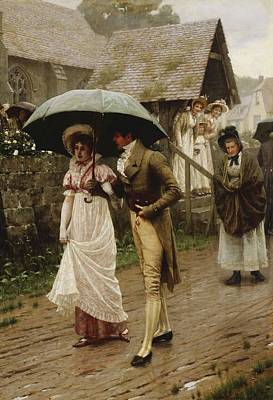 Flirt Painting - A Wet Sunday Morning by Edmund Blair Leighton