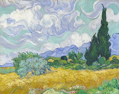 Countryside Painting - A Wheat Field, With Cypresses by Vincent van Gogh