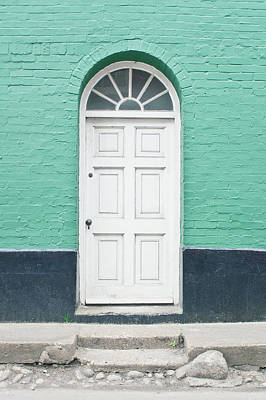 Frame House Photograph - A White Door by Tom Gowanlock