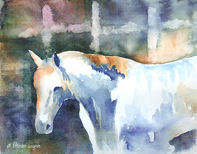 White Horses Painting - A White Horse by Arline Wagner