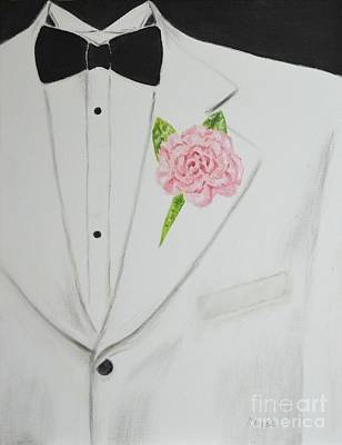 Sports Paintings - A White Sport Coat and A Pink Carnation by Mary Deal