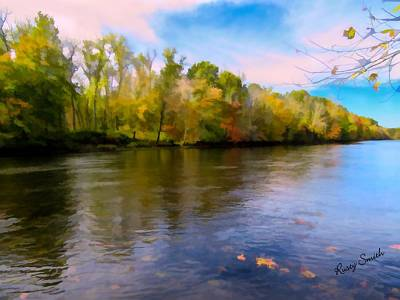 Digital Art - A Wide Scenic View Of Shetucket River. by Rusty R Smith