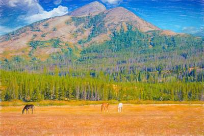 Digital Art - Three Horses In Pasture With Mountain Peaks,montana by Rusty R Smith