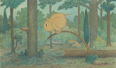 A Wiggle Much Creature Looking At A Bird's Nest Print by Herbert Crowley