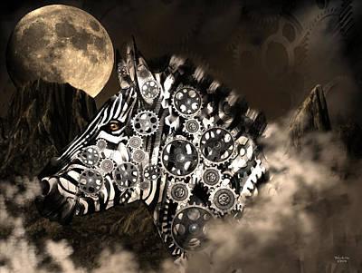 Digital Art - A Wild Steampunk Zebra by Artful Oasis