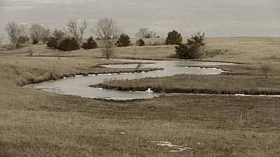 A Winding Creek In Winter As Geese Fly Overhead Art Print