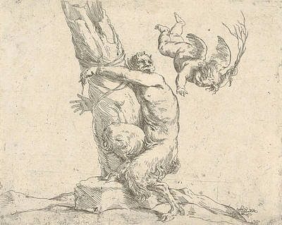 Relief - A Winged Putto Flogging A Satyr Tied To A Tree by Treasury Classics Art