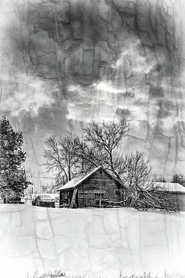 A Winter Eve - Overlay Bw Art Print by Steve Harrington