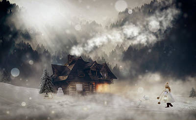 Log Cabin Mixed Media - A Winter Fantasy by Pixel2013