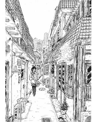Drawing - A Winter Alley by Hisashi Saruta
