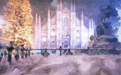 Digital Manipulation Painting - A Winter In Milan by Mario Carini