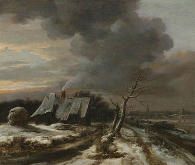 Blizzard Painting - A Winter Landscape With A View Of The River Amstel And Amsterdam by Jacob van Ruisdael