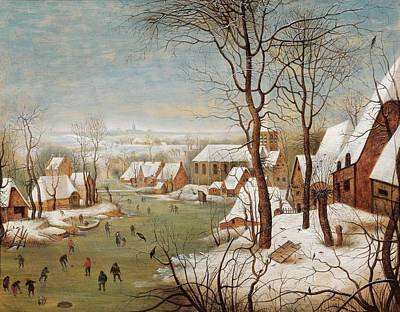 Brussels Painting - A Winter Landscape With A Village And A Bird Trap, by Pieter Brueghel II