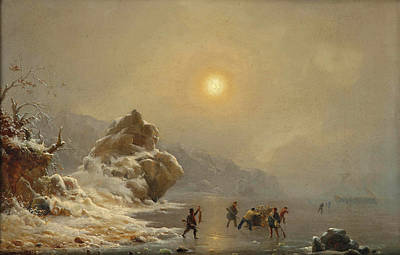Andreas Achenbach Painting - A Winter Landscape With Hunters On The Ice by Andreas Achenbach