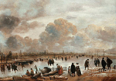 A Winter Landscape With Skaters And Townsfolk On A Frozen Waterway Art Print