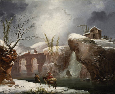 Painting - A Winter Landscape With Travellers By A River by Francesco Foschi