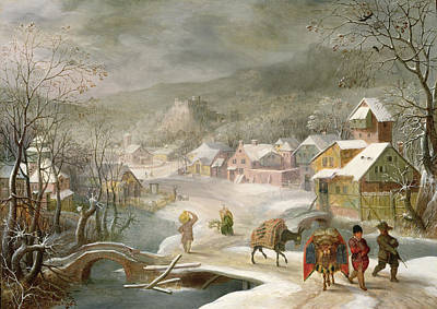A Winter Landscape With Travellers On A Path Art Print by Denys van Alsloot