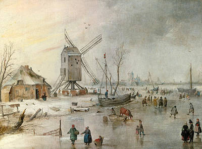 Hendrick Avercamp Painting - A Winter Scene With A Windmill And Figures On A Frozen River by Hendrick Avercamp