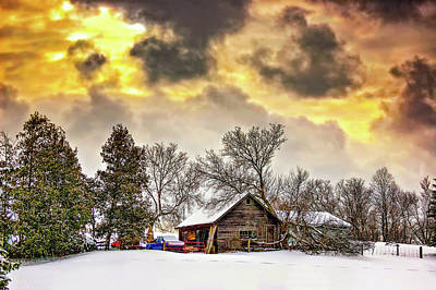 Barn Digital Art - A Winter Sky by Steve Harrington