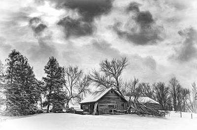 A Winter Sky - Vignette Bw Art Print by Steve Harrington
