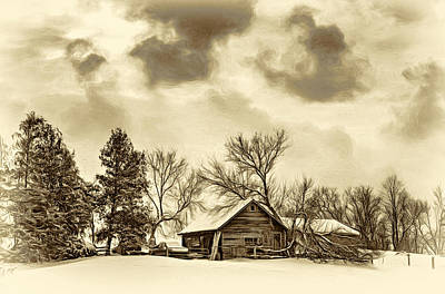 A Winter Sky - Vignette - Sepia Art Print by Steve Harrington