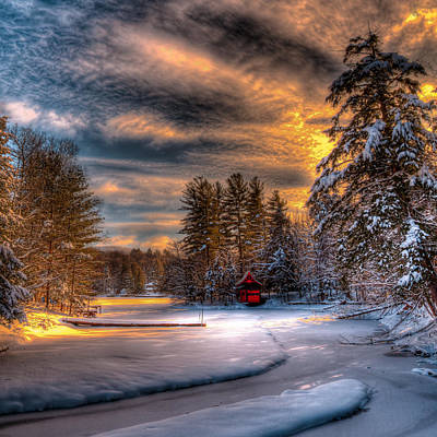A Winter Sunset Art Print by David Patterson