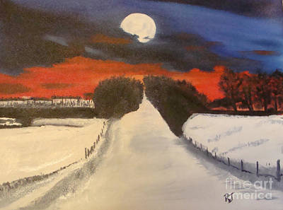 Painting - A Winter Sunset by Rod Jellison