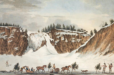 A Winter View Of The Falls Of Montmorenci Art Print by John Wells