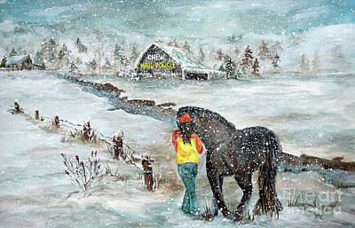 Mail Pouch Barn Painting - A Winter Walk by Deb Arndt