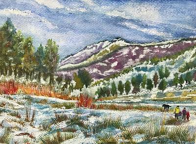 Painting - A Winter Walk IIn Colorado by Carol Warner