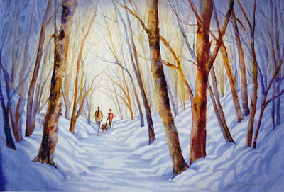 A-winter-walk Art Print by Nancy Newman