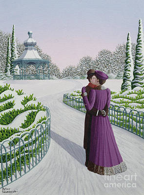 Couple Making Love Painting - A Winter's Romance by Peter Szumowski