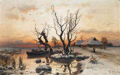 Painting - A Winter's Sunset by Julius von Klever