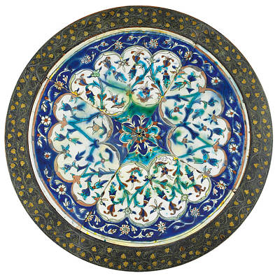 Pottery Painting - A Wire Inlaid Coffee Table With Kutahya Pottery Tiles by Eastern Accents