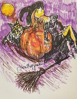 A Hand-thrown Drawing - A Witches Pumpkin by Geraldine Myszenski