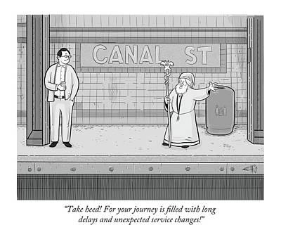 Wizard Drawing - A Wizard On Subway Platform Tells Man His Train Is Delayed. by Ellis Rosen
